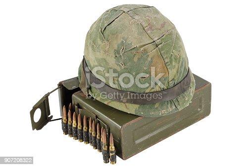 907208642 istock photo Green Ammo Box with ammunition belt and helmet 907208322