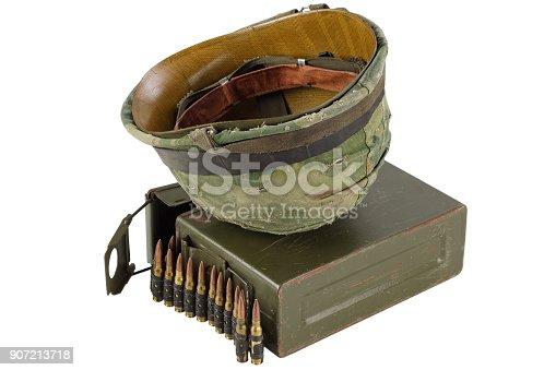 907208642 istock photo Green Ammo Box with ammunition belt and helmet 907213718