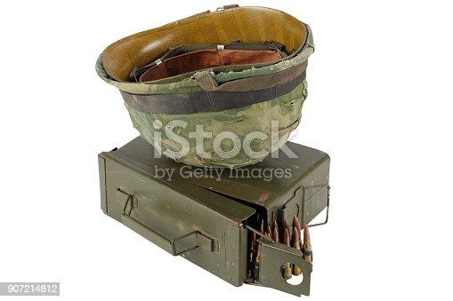 907208642 istock photo Green Ammo Box with ammunition belt and helmet 907214812