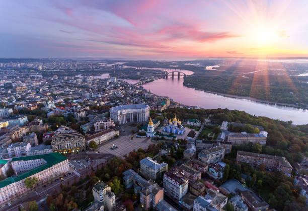 green and beautiful center of kiev, ukraine - ukraine stock pictures, royalty-free photos & images
