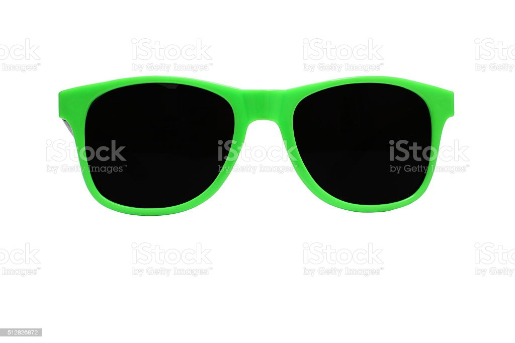 Green and Black Sunglasses Shades on White Background stock photo