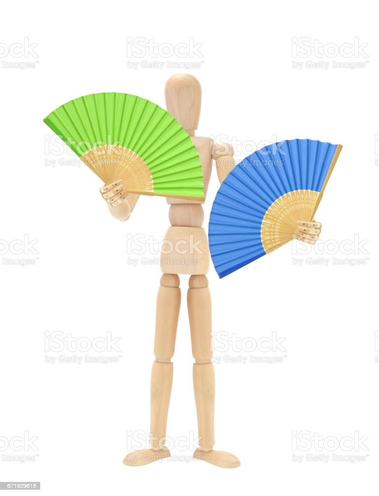 Green and Blue Fan Wood Mannequin stock photo