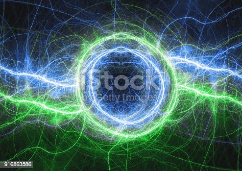 istock Green and blue lightning, electrical plasma background 916863586