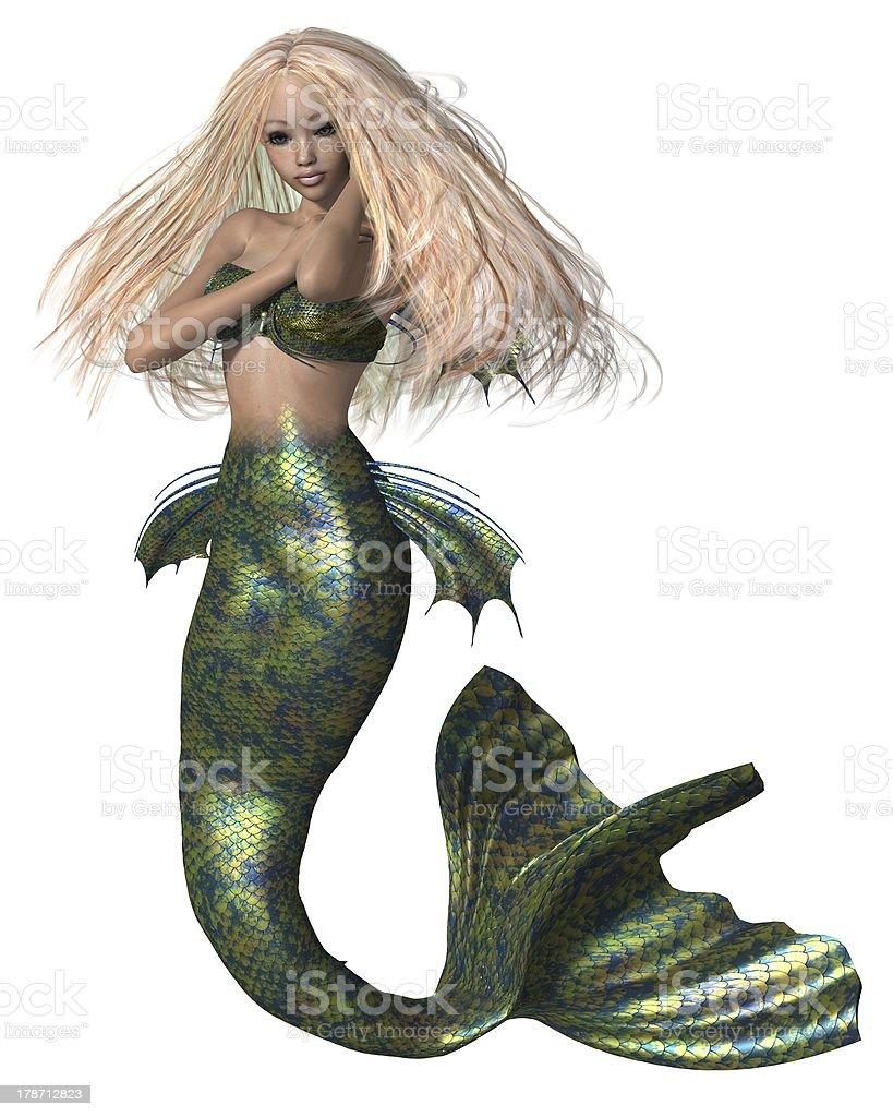 Green and Blue Mermaid stock photo