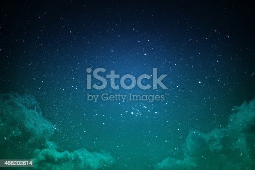 532378051 istock photo Green and blue night sky with stars and clouds 466202614