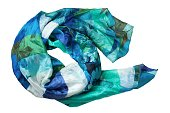 白い背景に分離された緑と青のシルク スカーフ