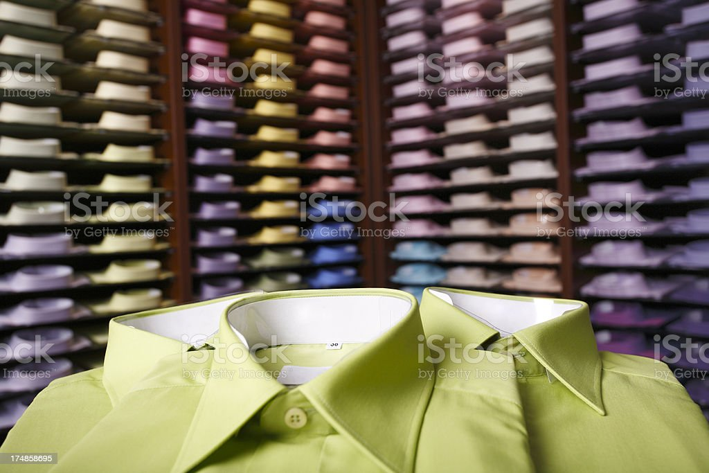 Green and colorfull shirts royalty-free stock photo