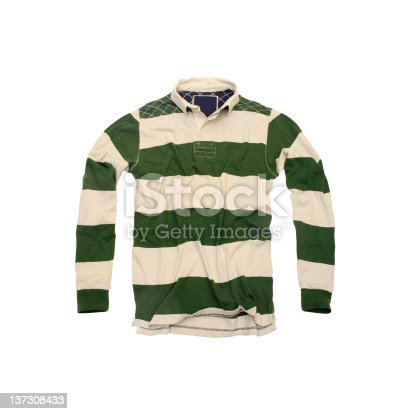 A collegiate-style striped rugby shirt photographed against a white background.