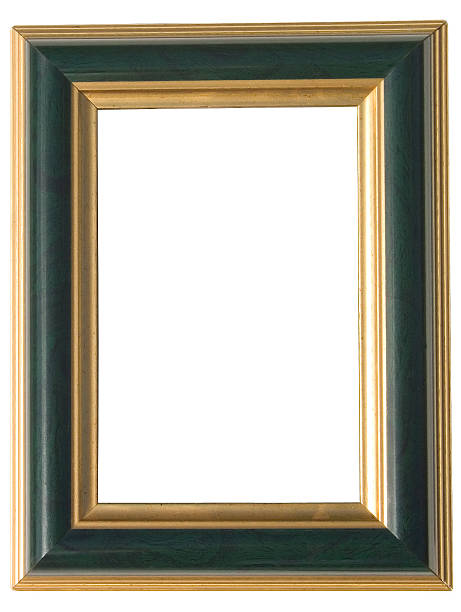 green and gold art frame: with clipping path stock photo