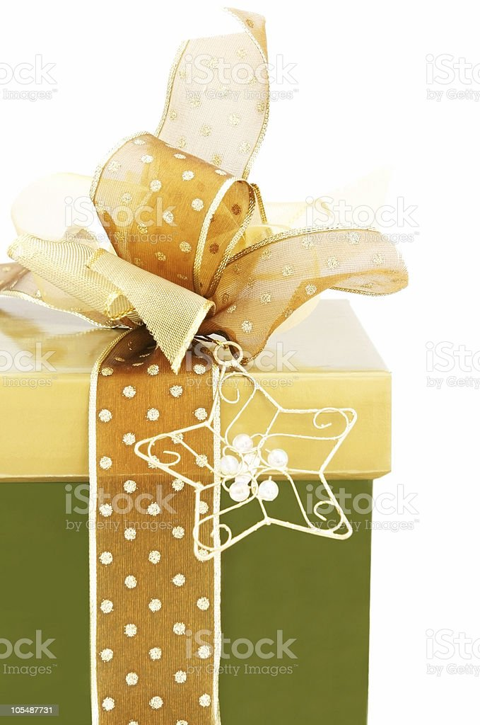 Green and Gold Gift Box royalty-free stock photo