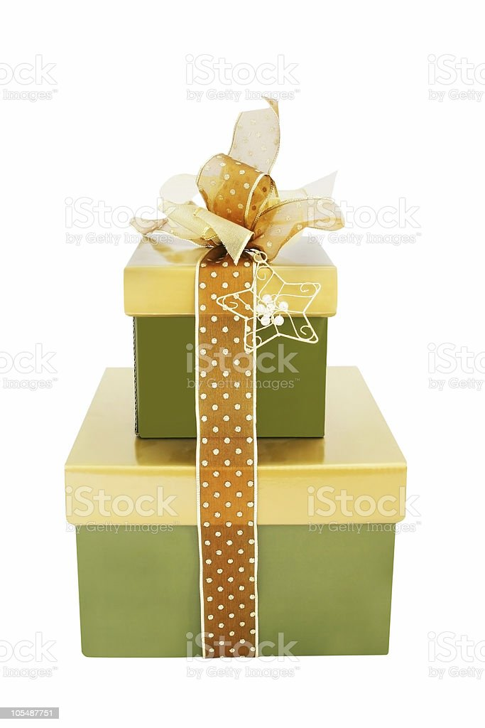 Green and Gold Gift Boxes royalty-free stock photo