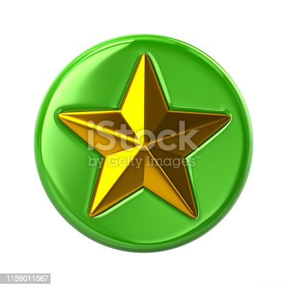 1140293905 istock photo Green and golden star button 3d illustration 1159011567