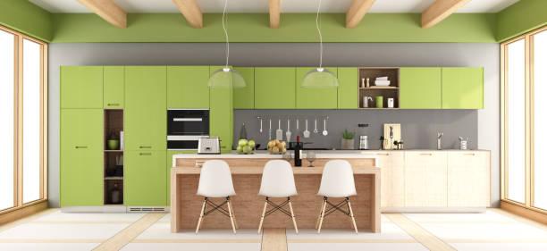 grüne, graue und moderne küche - küche italienisch gestalten stock-fotos und bilder