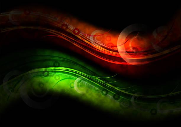 Green and orange dark waves stock photo