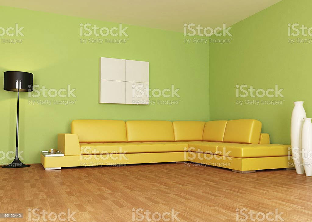 Green And Orange Living Room Stock Photo - Download Image ...
