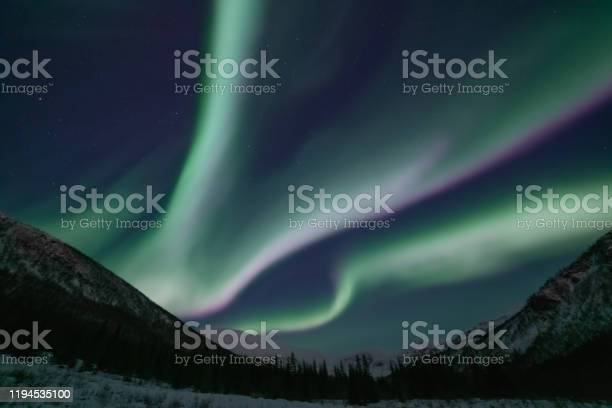 Photo of Green and pink aurora