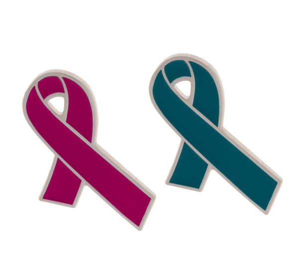 insignias de cinta verde y rosa, conciencia de caridad y recaudación de fondos para ovárico y cáncer de mama. aislado en blanco. - ovarian cancer ribbon fotografías e imágenes de stock