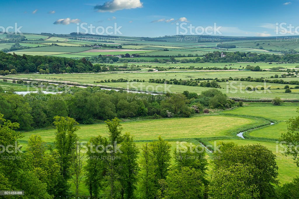 Green and pleasant landscape stock photo