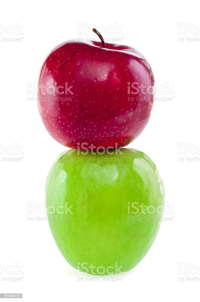 Green and red apple tower royalty-free stock photo