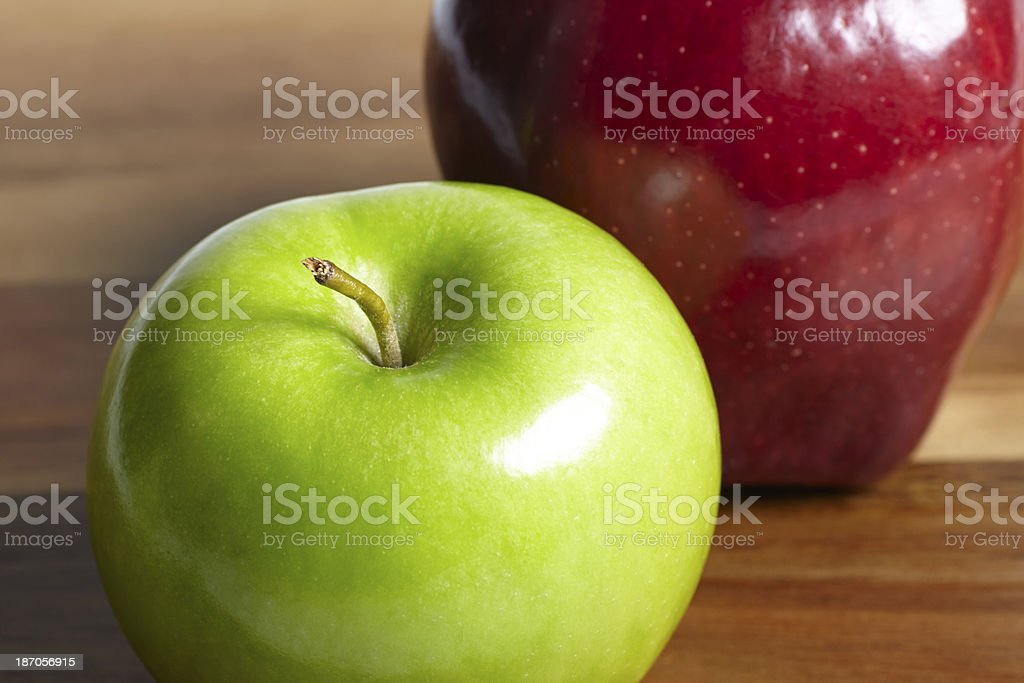 Green and red apples close-up royalty-free stock photo
