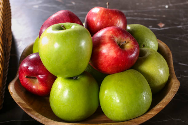 Green and red apples high angle Green and red apples high angle red delicious apple stock pictures, royalty-free photos & images