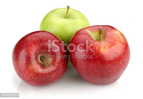 Fresh Green and Red Apples Isolated on White Background