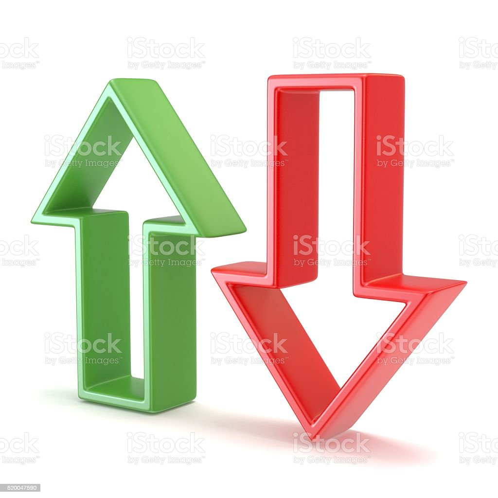 Green and red arrow. 3D stock photo