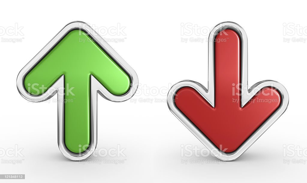 Green and red arrow stock photo