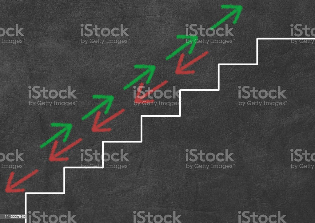 green and red arrows going up and down stairs. business and finance...