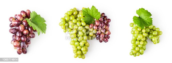 istock Green and red grape set 1065774914