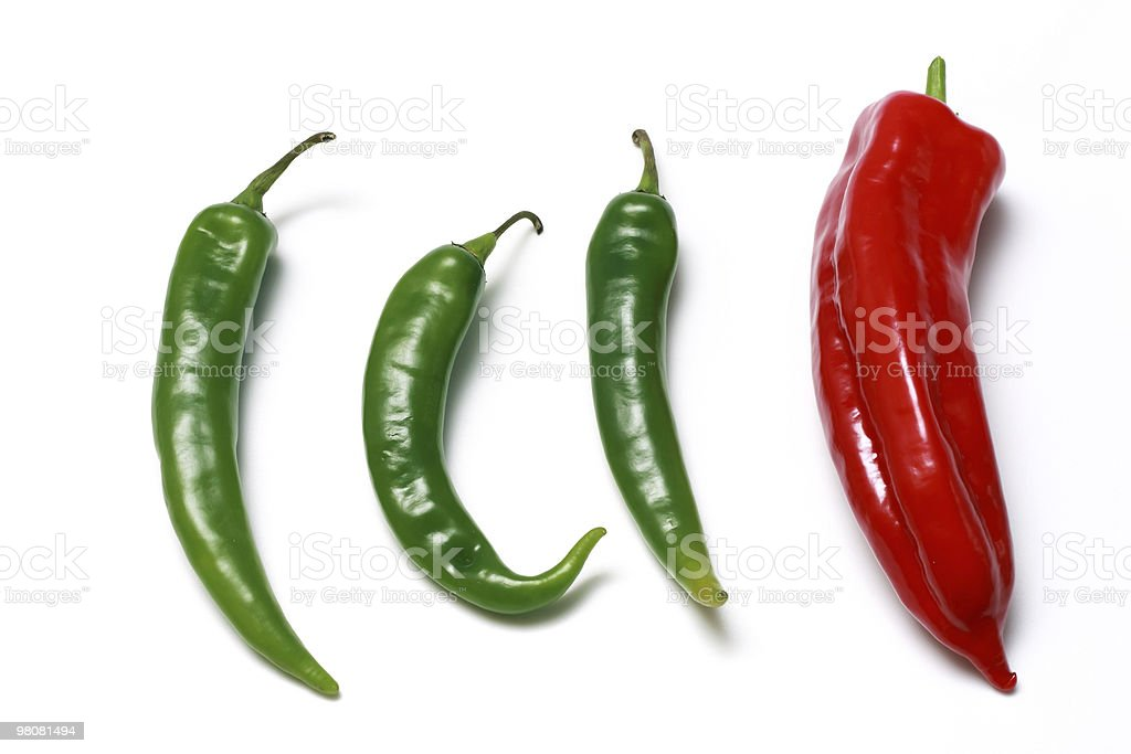 green and red hot chili peppers royalty-free stock photo