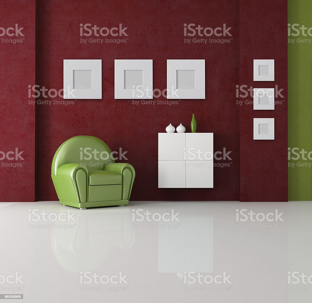 green and red living room royalty-free stock photo