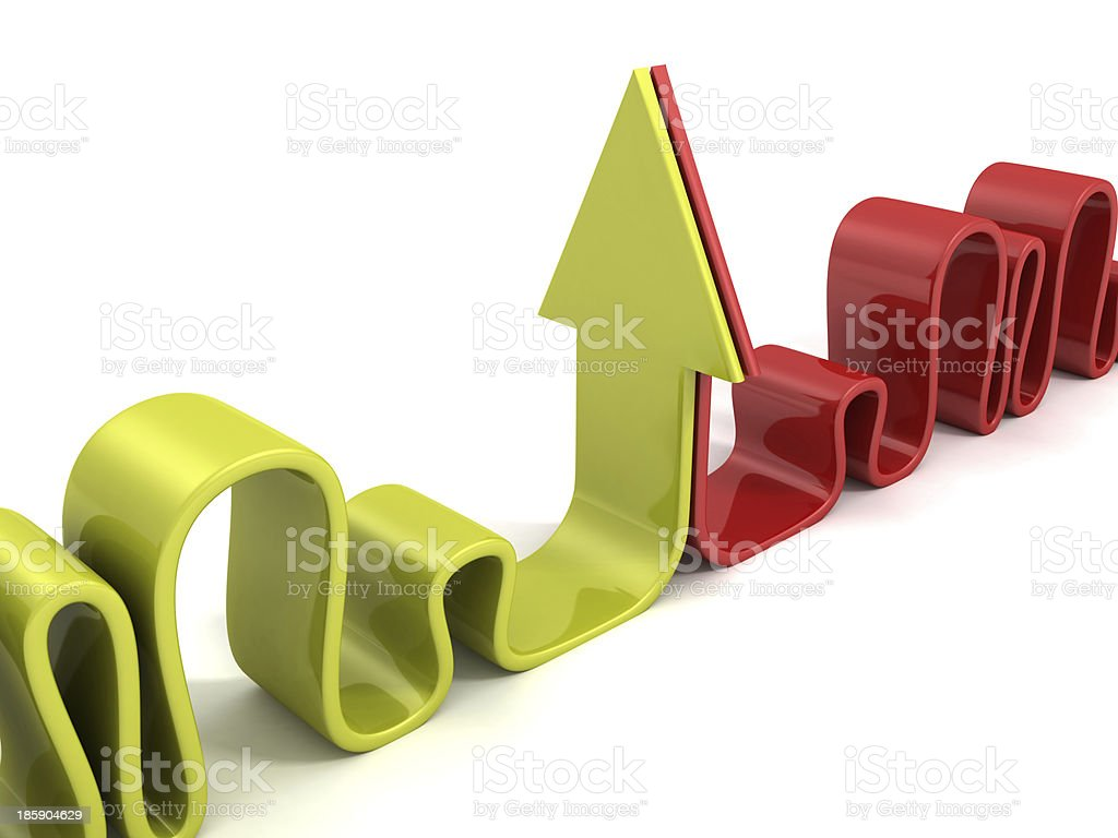 green and red opponent curved arrows royalty-free stock photo