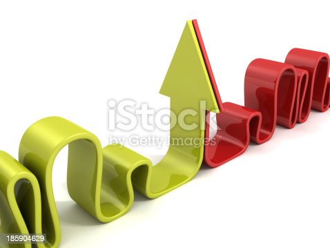 istock green and red opponent curved arrows 185904629