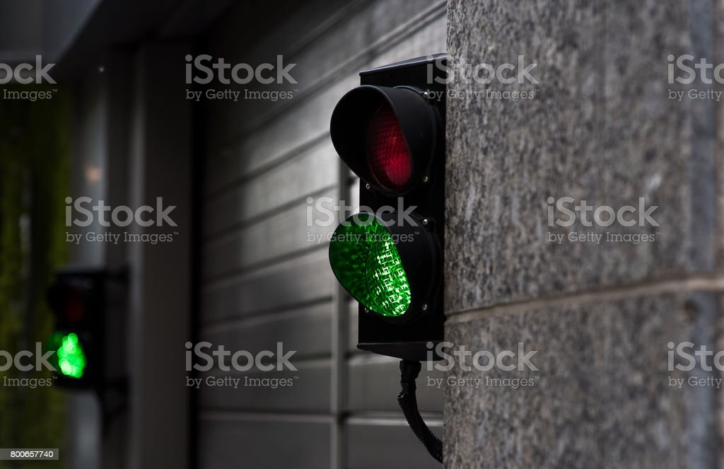 Green And Red Stop Light In Garage Enter Stock Photo More Pictures