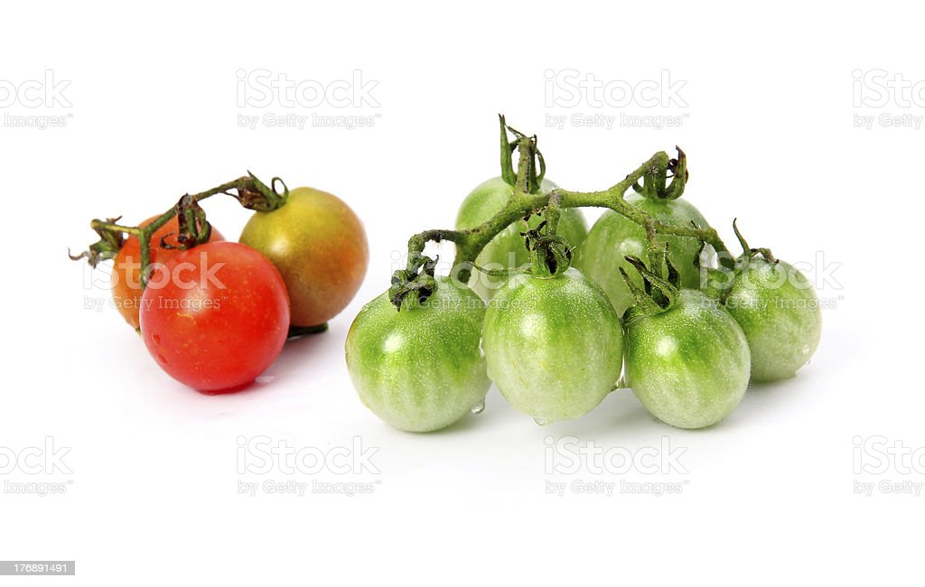 Green and red tomatoes vegetables isolated royalty-free stock photo