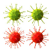 Green and red viruses on white background, Horizontal composition with clipping path and copy space. Health and COVID-19 concept.
