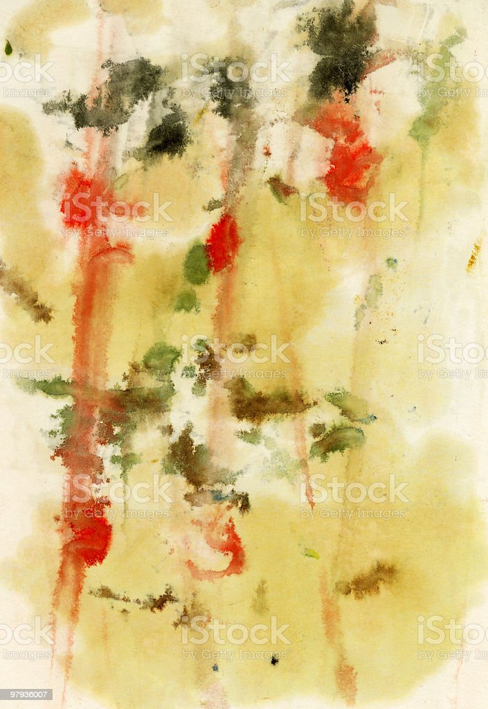 green and red watercolor painting royalty-free stock photo