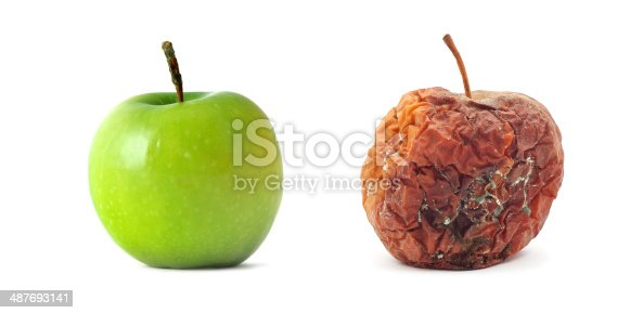 Green and rotten apples. Isolated object. Element of design.