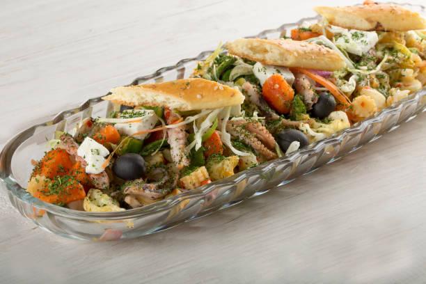 Green and Seafood Salad stock photo