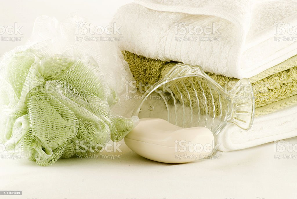 Green and White Bath Collection stock photo