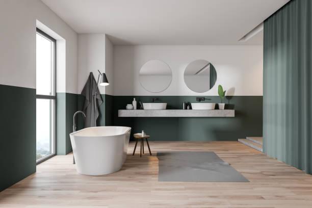banheiro, cuba e dissipador verdes e brancos - banheiro doméstico - fotografias e filmes do acervo