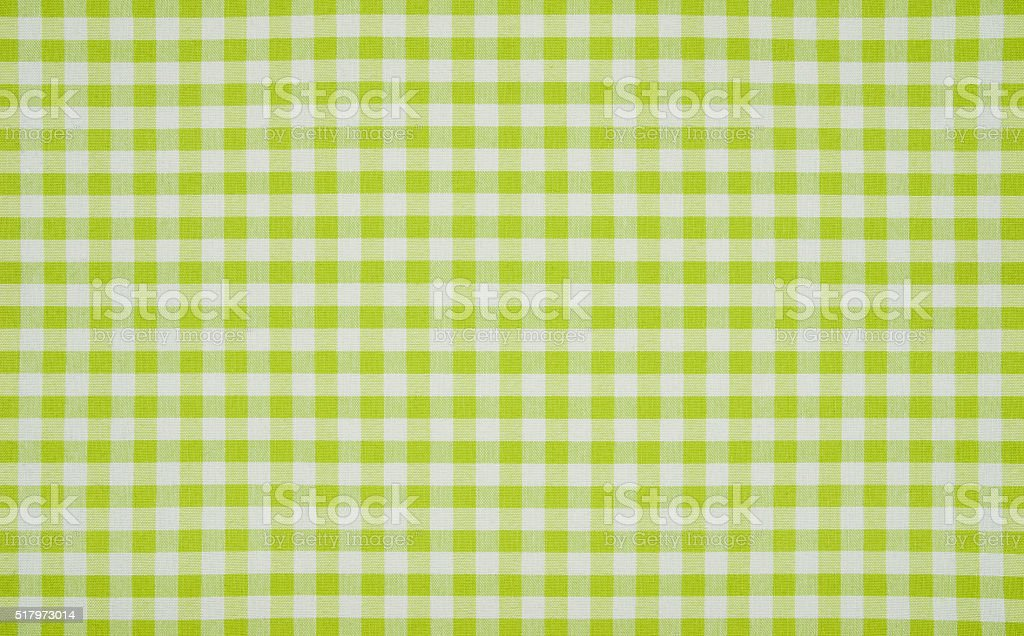 Green and white checkered tablecloth stock photo