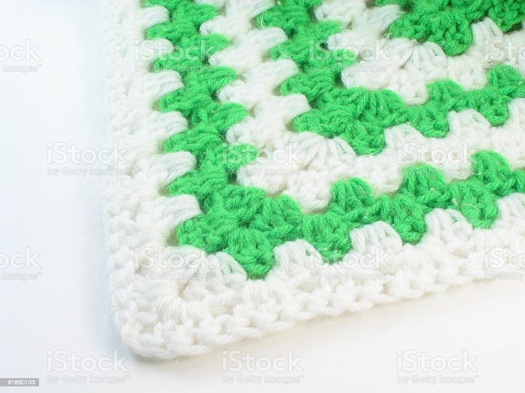 Green and White Crochet stock photo
