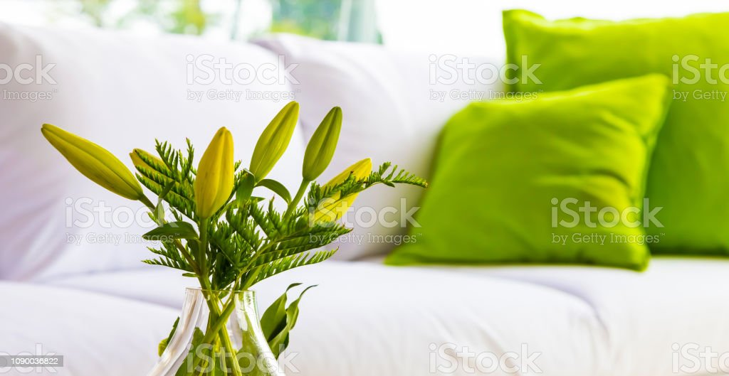 Green and White flower display for Spring Festival event decor