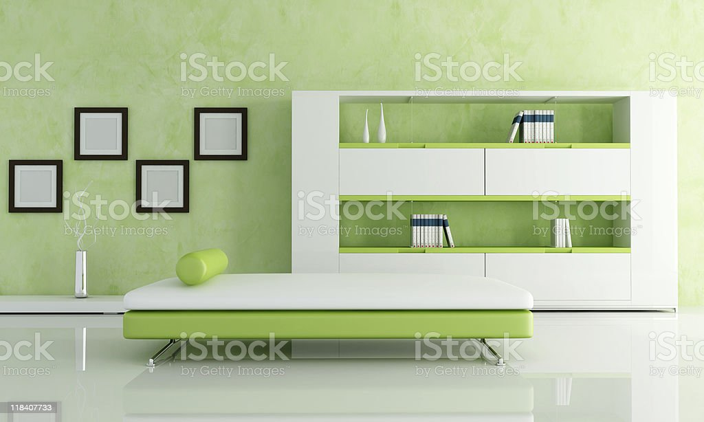 green and white living room royalty-free stock photo
