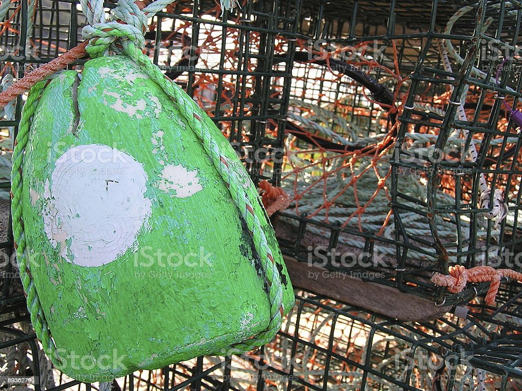 Green and White Lobster Trap Buoy royalty free stockfoto