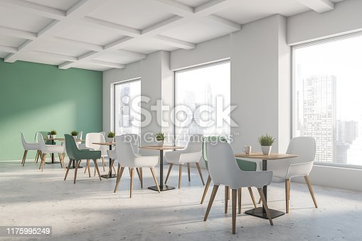 Corner of loft restaurant with green and white walls, stone floor and green and white chairs near square wooden tables. 3d rendering
