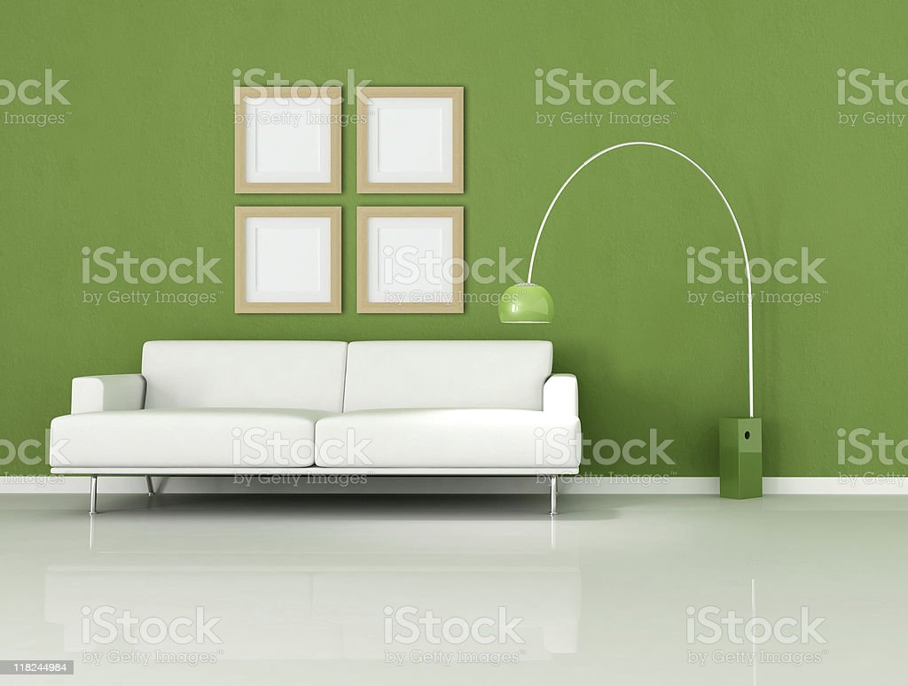 green and white minimal living-room royalty-free stock photo
