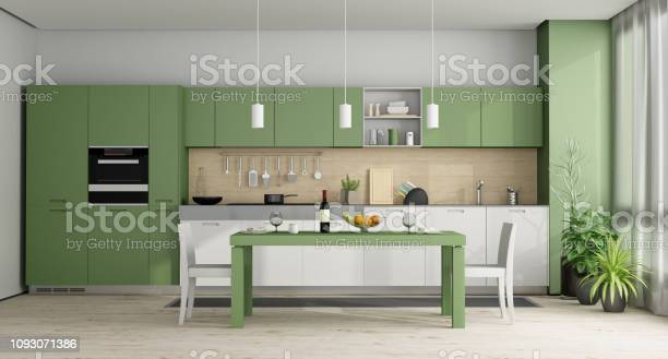 Green and white modern kitchen 3d rendering picture id1093071386?b=1&k=6&m=1093071386&s=612x612&h=fz 9f9b9h1tgc29ktzz5zly5qy2aea5bmnl8v8f0vaa=